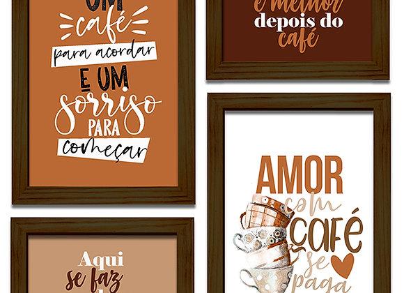 Kit 04 Quadros - Café