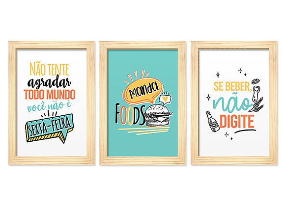 Kit 03 Quadros - Manda Foods