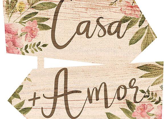 Placa Indicativa - Casa + Amor =Lar