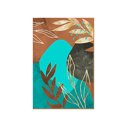 Quadro - Manchado Folhas Turquesa - 545