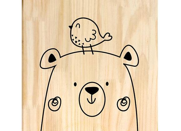 Quadro Pinus - Urso e Pássaro