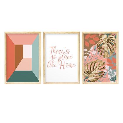 Trio de Quadros Moldura Pinus - Rose Gold