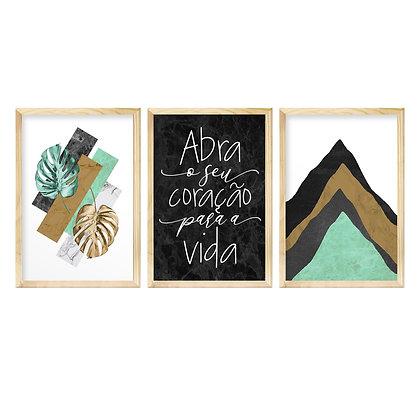 Trio de Quadros Moldura Pinus - Abra seu Coração
