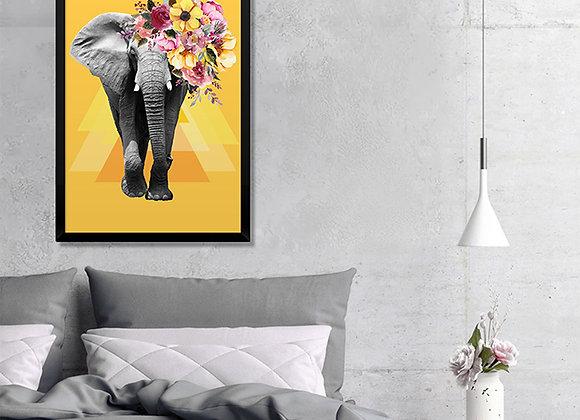 Quadro Elefante Florido