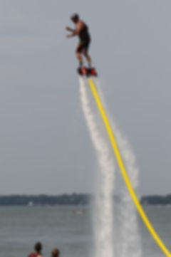 Bob mid dive.  Flyboarding in Madison, Wisconsin.  Flyboards.