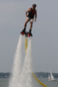 Bob diving while flyboarding with jet packs in Madison, Wisconsin