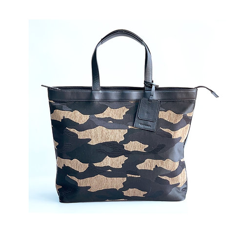 Camo Tote with Leather Holder
