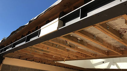 cover up the steel beam that supported the roof by using natural bath stone