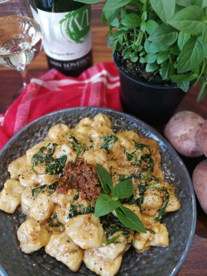 Potato Gnocchi with Tomato Pesto