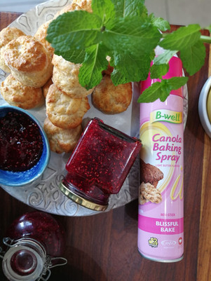3 Ingredient scone and Raspberry preserve