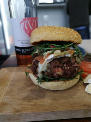 Venison Burger with melted Brie and creamy wine sauce