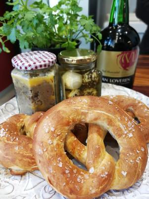 Soft Pretzels with Liver-Biltong Pate