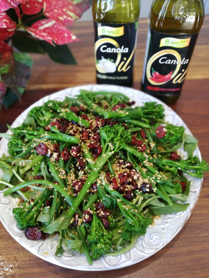 Green salad with Sesame dressing and cranberries