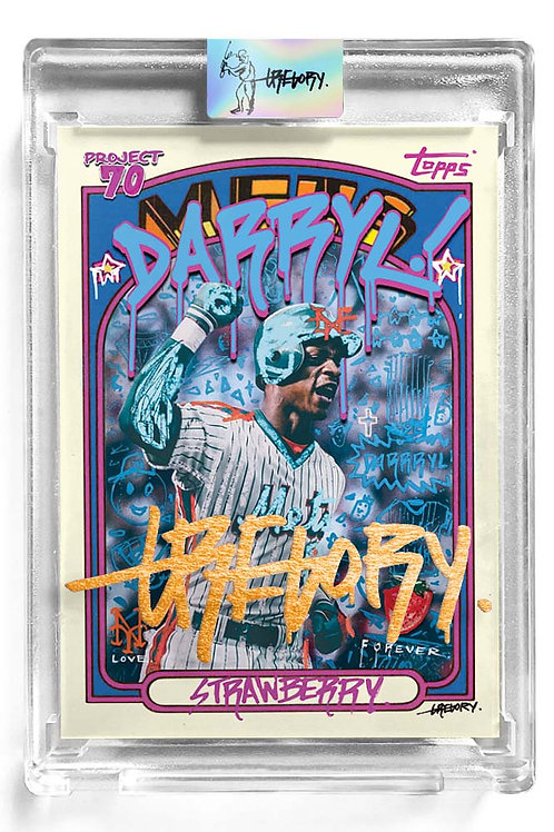 1972 Darryl Strawberry by Gregory Siff - 18K Gold Leaf Autograph