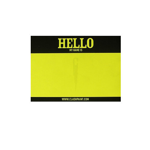 Sticker Fluo Yellow ' Hello my name is ' CLASH Paint