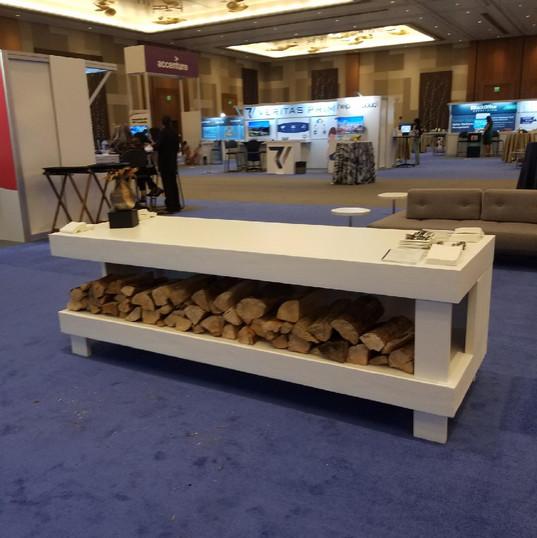 Custom built white food display table