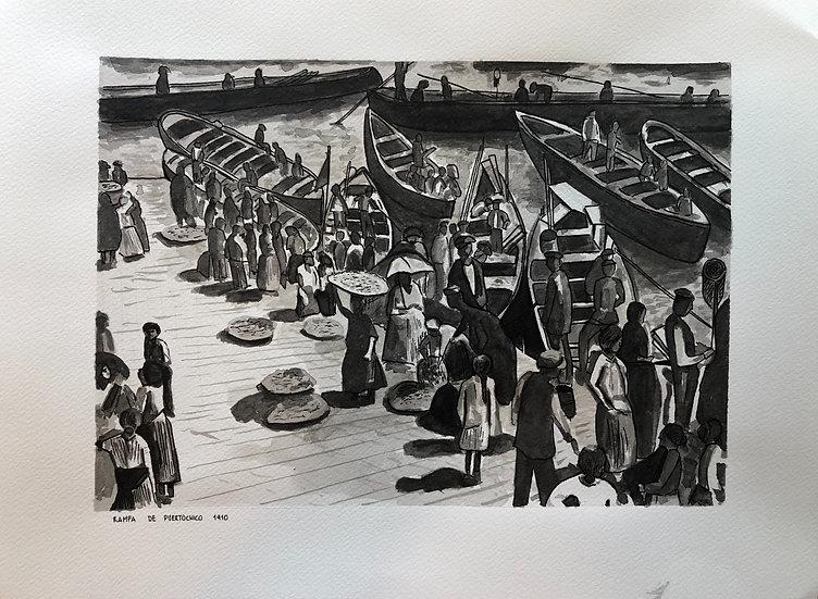 """Rampa de Puertochico 1910"" Tinta negra sobre papel 40x30cm Autor Kike Gadea"
