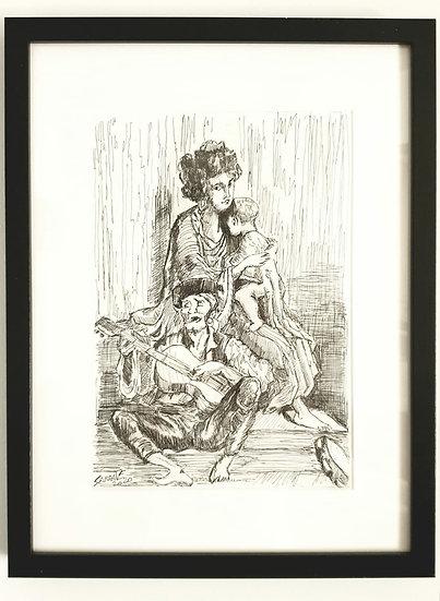 """""""DORÉ"""" 30x40 cm Tinta y papel Autor Jesús Sarrate"""