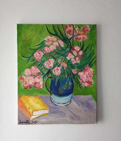 """""""Flores en jarra azul. Acrílico y lienzo  50 x 40 cm Jesús Sarrate"""