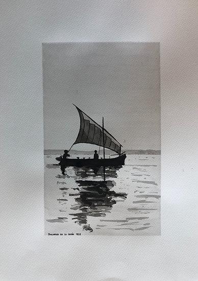 """Balandro en la bahía 1928"" Tinta negra sobre papel 40x30 cm Autor Kike Gadea"
