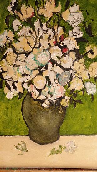 """""""Rosas en fondo verde"""". Acrílico y lienzo. 40 x 60 cm Jesús Sarrate"""