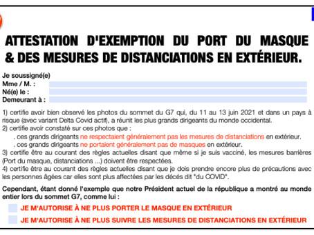 ATTESTATION D'EXEMPTION DU PORT DU MASQUE & DES MESURES DE DISTANCIATIONS EN EXTÉRIEUR.