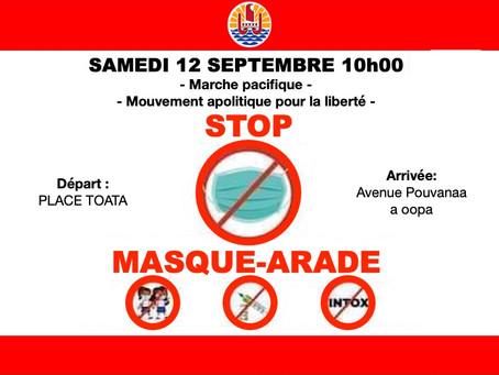 SCOOP : UNE MARCHE PACIFIQUE STOP MASQUE-ARADE LE 12 SEPTEMBRE 2020, 10H00 À TAHITI, PLACE TO'ATA.