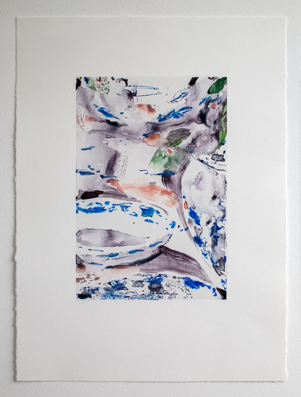 Blue and Pearls 2, watercolour monotypes