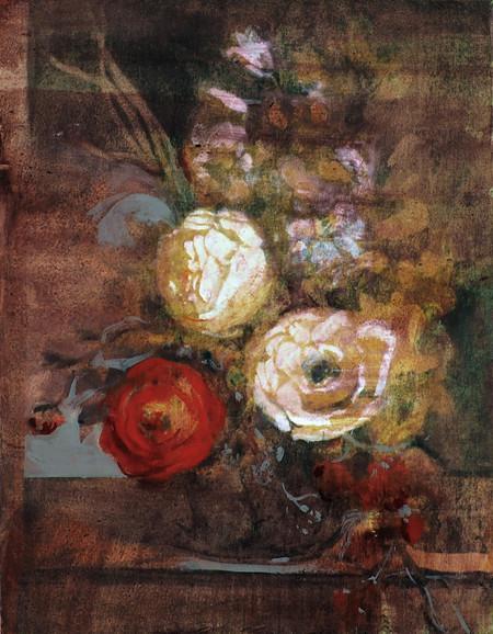 Red still life, mixed media on canvas, 48.5x38cm, 2019