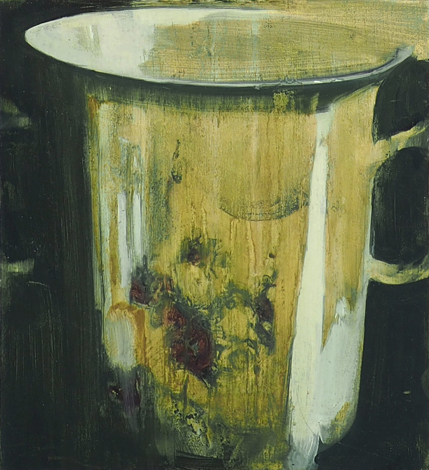 Porcelein tea cup, oil on wood, 18.5x20x2cm, 2019