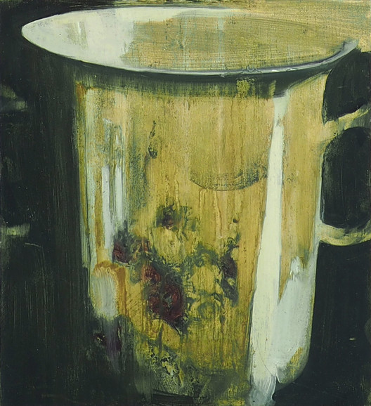 Porcelein tea cup, oil on wood, 18.5x20x2cm, 2019