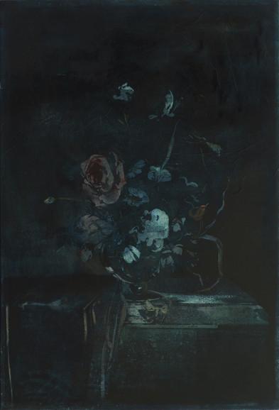 Blue still life, mixed media on canvas, 125x85cm, 2019