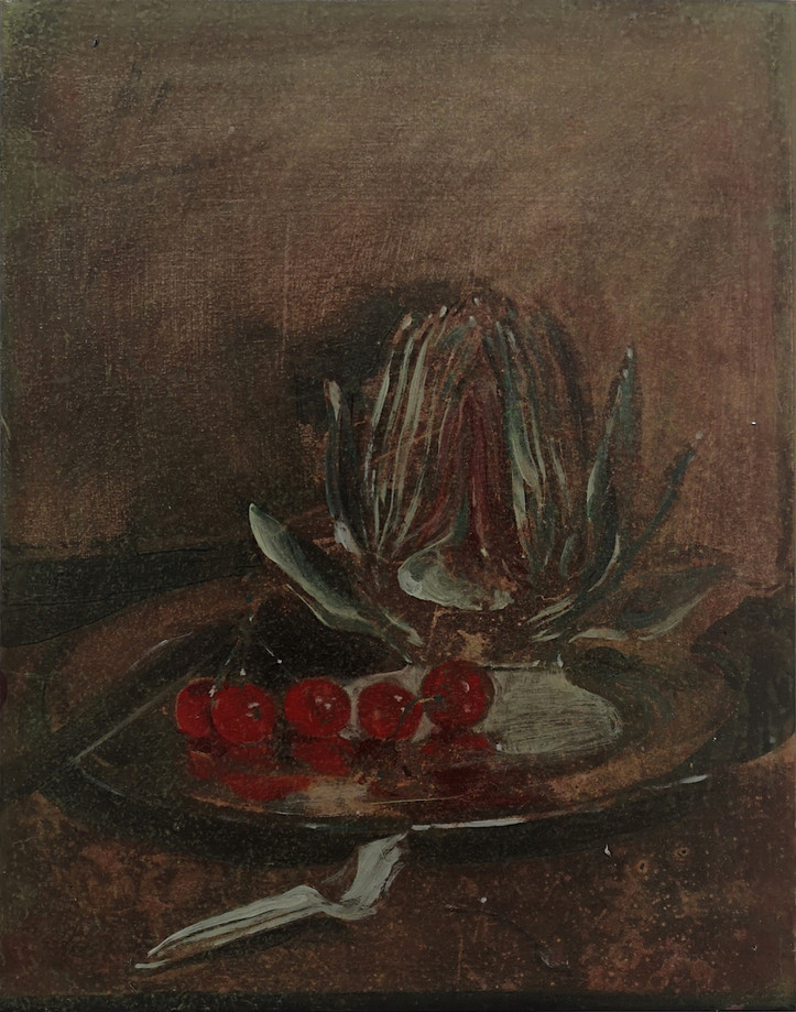 Artichoke IV, oil and mixed media on canvas, 48.5x38cm, 2019