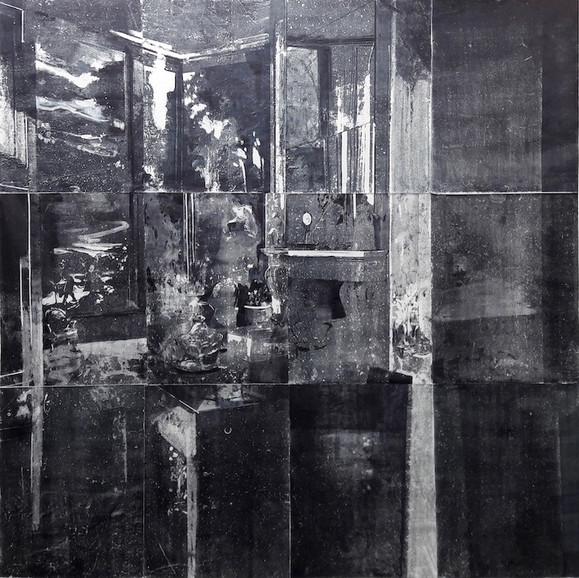 Sequester, monoprint on bible paper, 200x200cm, studio work, 2019