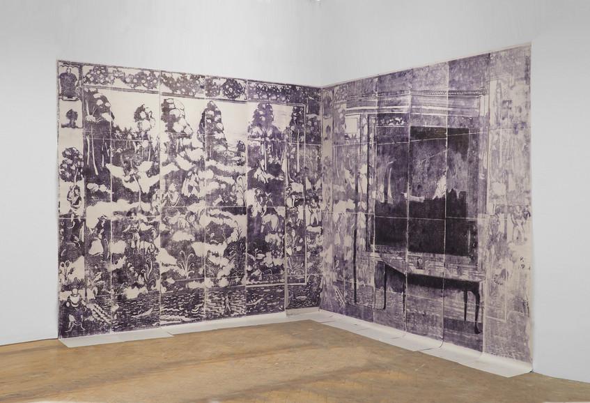 'Tapestry' install, monoprint on newspri