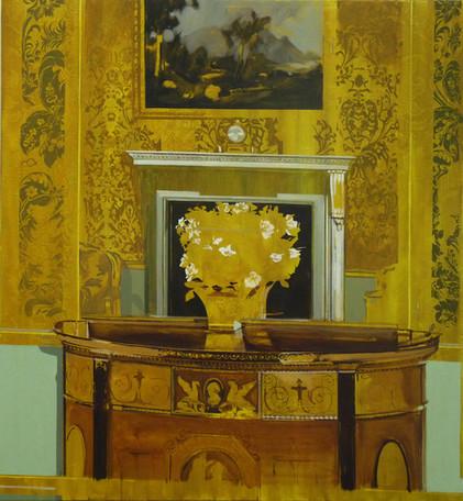 'Mustard Mirror', oil on canvas, 130x125cm, 2018