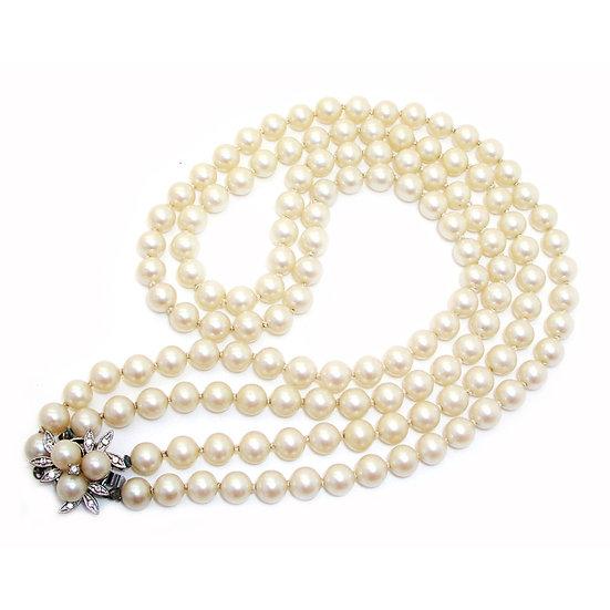 Pearl Rhinestones Necklace VJ-011