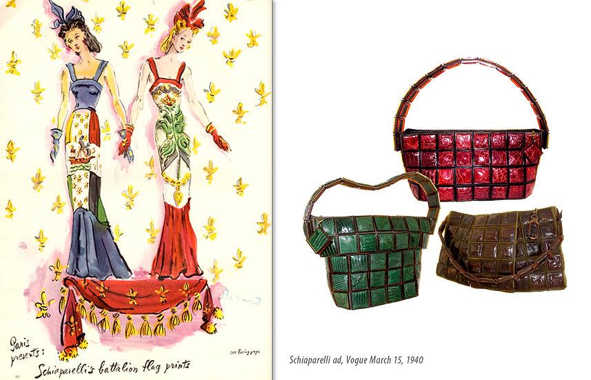 Schiaparelli Ad Vogue 1941 Lumur Bags Print P-020
