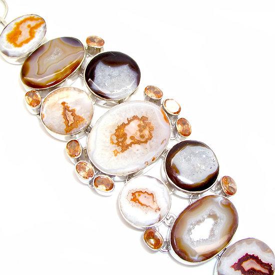 AGATE TOPAZ Artisan Silver Gems Bracelet GB-012