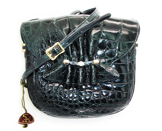 Vintage Teal Crocodile Shoulder Bag Tokyo JAPAN