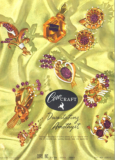 Coro Craft Jewelry Ad Vogue 1944 Print AP-018