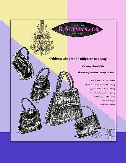 Coblentz Alligator Bags 1954 Ad Print FA-006
