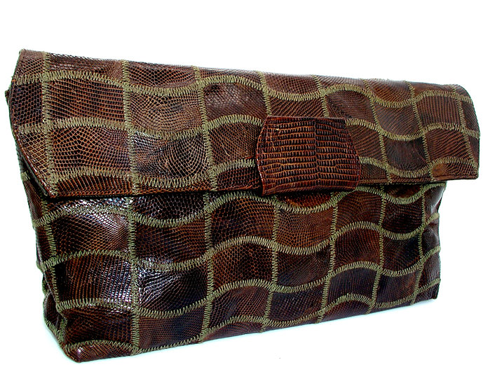 Vintage Alligator Skin Handbag Enamel, ROSENFELD