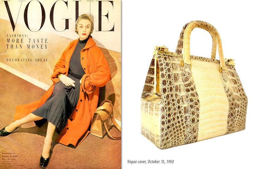 Vogue 1950 Handbag Ad Caiman Bag Print P-013