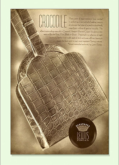 Lewis Crocodile Bag Vogue Ad 1938 Print AP-025