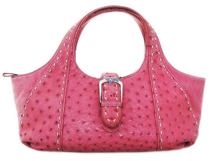 "ORCHID Vintage Ostrich Skin Handbag 15""    VEB-045"
