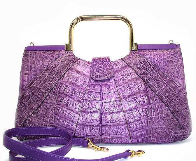 GERMANY Vintage Rare Purple Crocodile Bag  VEB-028