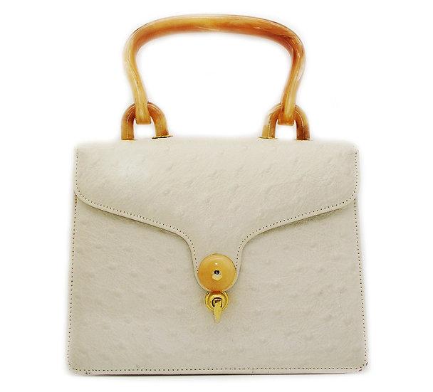 BAKELITE Vintage Ostrich Print Leather Bag VEB-015