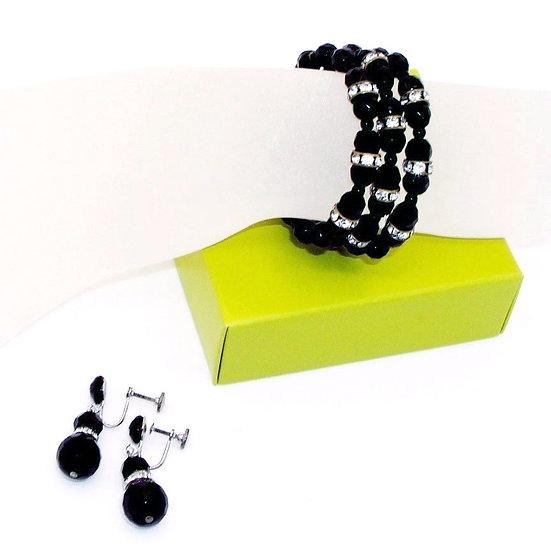RHINESTONES Retro Bracelet Earrings Set VJ-015