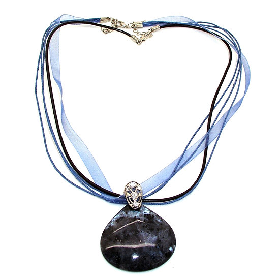 LABRADORITE Artisan Necklace Rhines Leather GN-004
